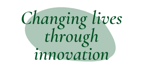 """Dark green quote bubble """"Changing lives through innovation"""""""