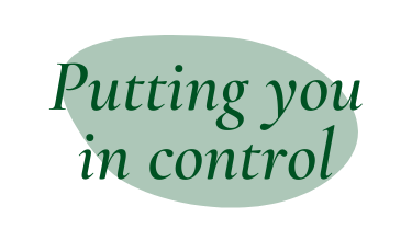 """Dark green quote bubble """"Putting you in control"""""""