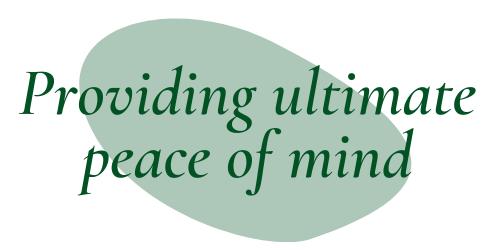 "Dark green quote bubble ""providing ultimate peace of mind"""